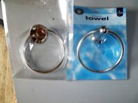 two chrome towel rings