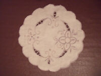 DOILY: attractive vintage cut out work/beige embroidered white linen doily. Can post.