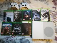 Xbox One S White 500GB Console Bundle + 2 White Controllers and 8 Games