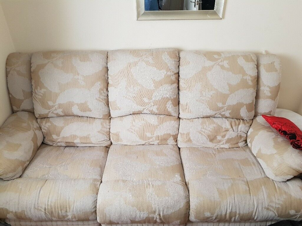Cream And Beigh Reclining 3 Seater Sofa