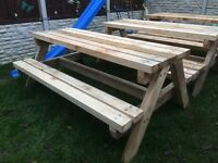 SOLID HEAVY DUTY WOODEN GARDEN / PICNIC BENCHES MADE FROM 5 BY 3