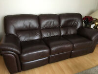 "Leather 3 Seater ""Electric"" double recliner sofa"