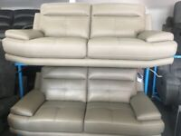 NEW - EX DISPLAY SOFOLOGY GREY LEATHER ISLINGTON 3 SEATER SOFA SOFAS 75% Off RRP