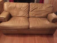 3&2 beige leather sofas and a armchair