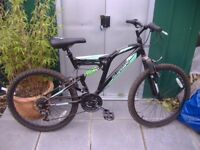 Teenager Boys Mountain Bike. Silverfox Vaults Dual suspension 18 gears