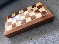 Wooden backgammon box set and chest board top