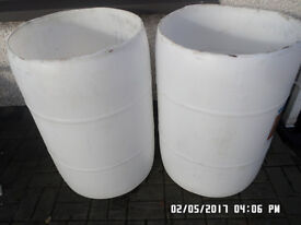 Plastic barrels with top cut off ,in good condition ,,