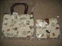 pair of handbags (cat/london theme)