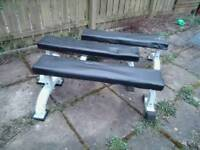 2 x gym flat benches