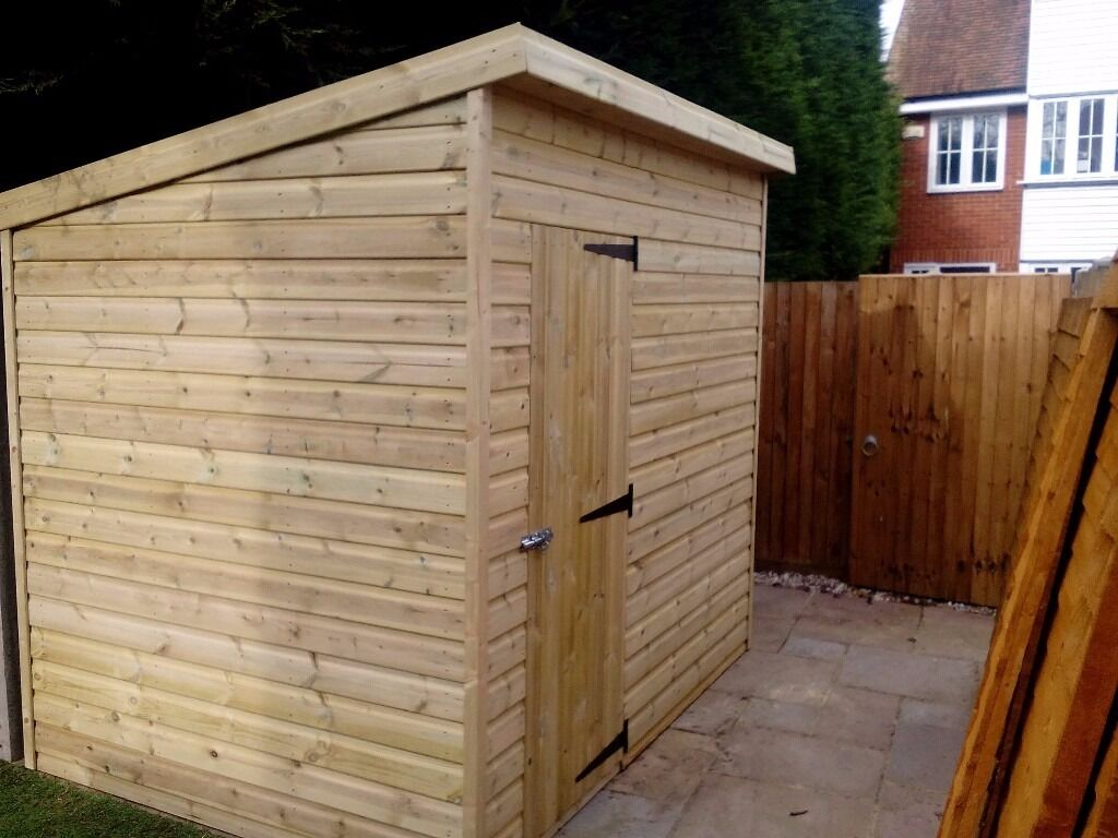 Shed 8 X 6 Pent Roof Shiplap Cladding In Lenham