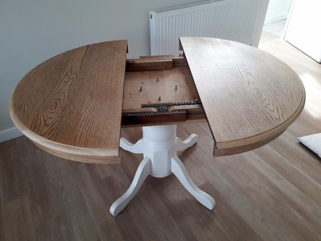 Round Extendable Dining Table Solid Oak Top Painted Centre Pedestal H30 X 42 59 When Extended