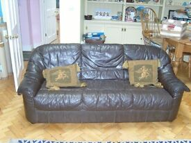 Three seater leather sofa.