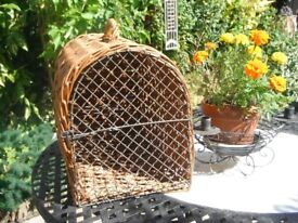 Cat Wicker and Metal Vintage Cat Carrier