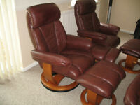 2 ARMCHAIRS LEATHER RECLINE & SWIVEL CHAIRS AND 3 FOOTSTOOLS / POUFFES ( MATCHING )
