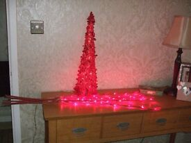 Christmas Decorations Red Pre-lit Pyramid, Twigs