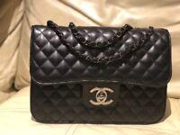 Chanel handbag classic double quilted black Leather ladies handbag