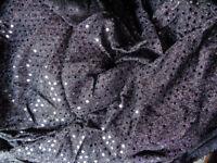 Black Sequin American Knit Stretch Dance Fabric