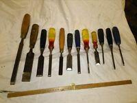 Set of 12 Random Woodworking Chisels
