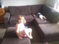 Brown corner sofa with foot stool FREE FREE