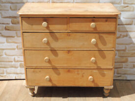 Antique Large Chunky Chest of Drawers on Bun Feet (Delivery)