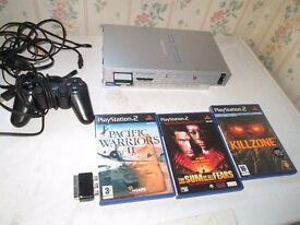 silver ps2 console bundle,3games+controller