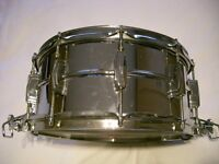 """Ludwig 411 seamless alloy Supersensitive snare drum - 14 x 6 1/2"""" - Blue/Olive Chicago - 1978-79"""