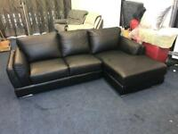 FAMOUS STORE CHAISE CORNER SOFA BLACK ITALIAN LEATHER RIGHT HAND SODE CHROME METAL LEGS L SHAPE