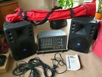 Mackie Pro Complete PA System 808S Stereo Powered Mixer plus Art 300 Speakers