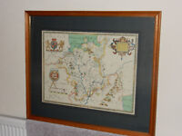 Vintage Framed Map of Shropshire - excellent condition