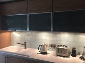 3 Schmidt kitchen wall units total 240 cm 94.5 inches. Smoked glass frontage immaculate condition