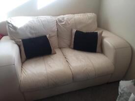 2 & 3 seater cream leather sofa