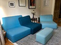 Ligne Roset Confluences Modular Blue Sofa + Chair + Ottoman