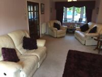 2 quality all reclining leather sofas, chair and poof