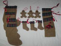 Bundle of Handmade Rustic Christmas Tree Decoration, Stockings Etc