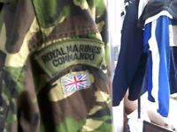 ROYAL MARINES COMMANDO COMBAT JACKET WITH TROUSERS AND SURVIVAL CAP ALSO SUPPLIES BAG £25 THE LOT