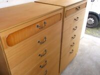 RETRO TEAK PAIR OF 6 DRAWER CHESTS GOOD USED CONDITION