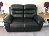 Black Recliner Leather 2 Seater Sofa & Chair Fully Reclining Excellent Con