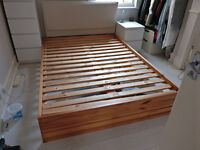 IKEA - solid pine doube bed frame