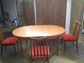 1970's G Plan teak table and 4 chairs