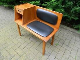 Vintage Chippy Heath Style Telephone Seat (Solid Teak)