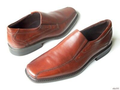 new men's ECCO 'New Jersey' mink brown leather slip-on loafers shoes -