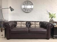 Brown 3 seater Chesterfield sofa. Can deliver...