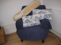 French Joie de Toile BOLSTER + CUSHIONS with HANDMADE cases