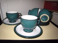 Denby Greenwich Green tea cups and saucers