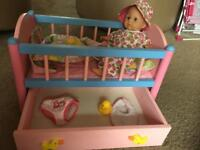 Baby born crib cot and a doll