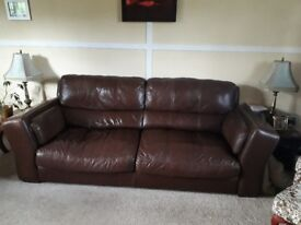 3 Seater large Brown soft leather settee