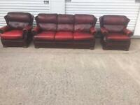 Saxon oxblood chesterfield sofa set. Free delivery local