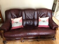 Leather / Wood Suite 2 & 3 seat Sofas armchair and foot stall