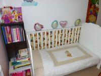 OBaby white cot bed + mattress