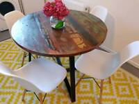 Stunning industrial rustic round dining table RRP £399